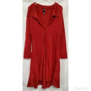 Bisou Bisou Red Long knit Cardigan